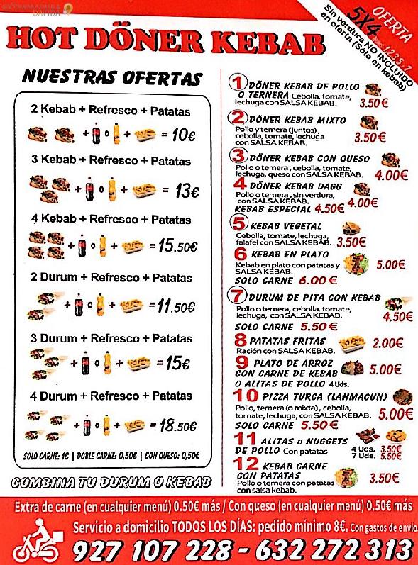 Kebab Cáceres Hot Doner Kebab Carta (-1)