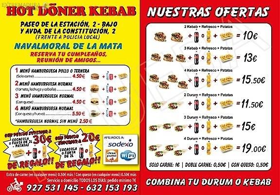 Kebab Navalmoral Hot Doner Kebab Carta 1