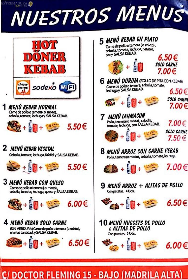 Kebab en Cáceres Hot Doner carta -4