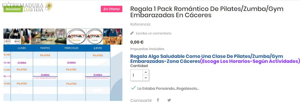 Regala un pack romántico en Cáceres Tararitarara