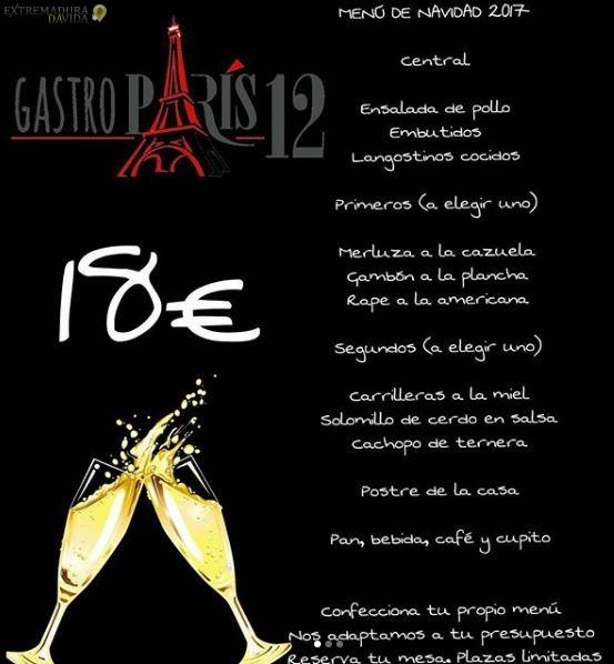 RESTAURANTE NUEVO CACERES PARIS 12 MENU GASTRONOMICO