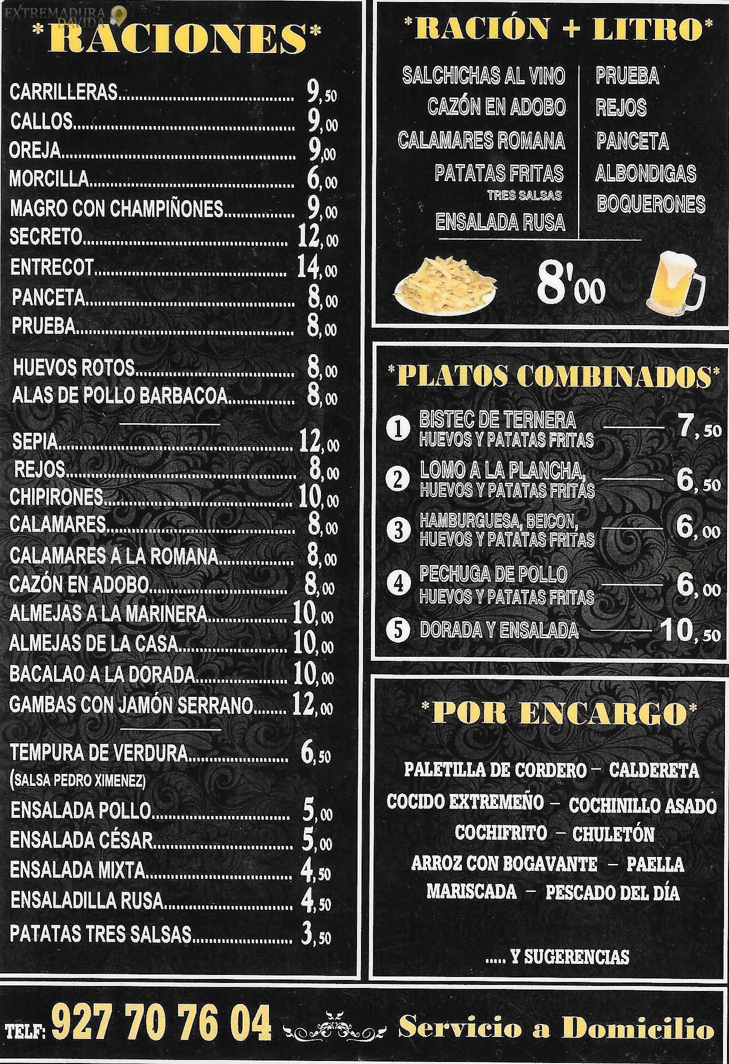 Raciones en Cáceres Comida para llevar New Golden