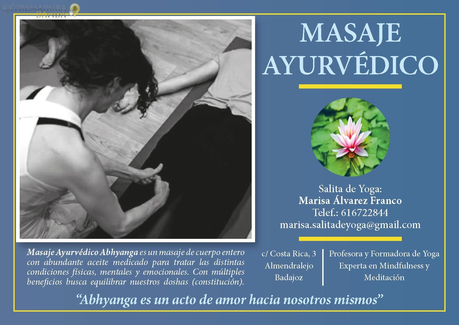 Ayurveda masajes en Almendralejo La Salita del Yoga