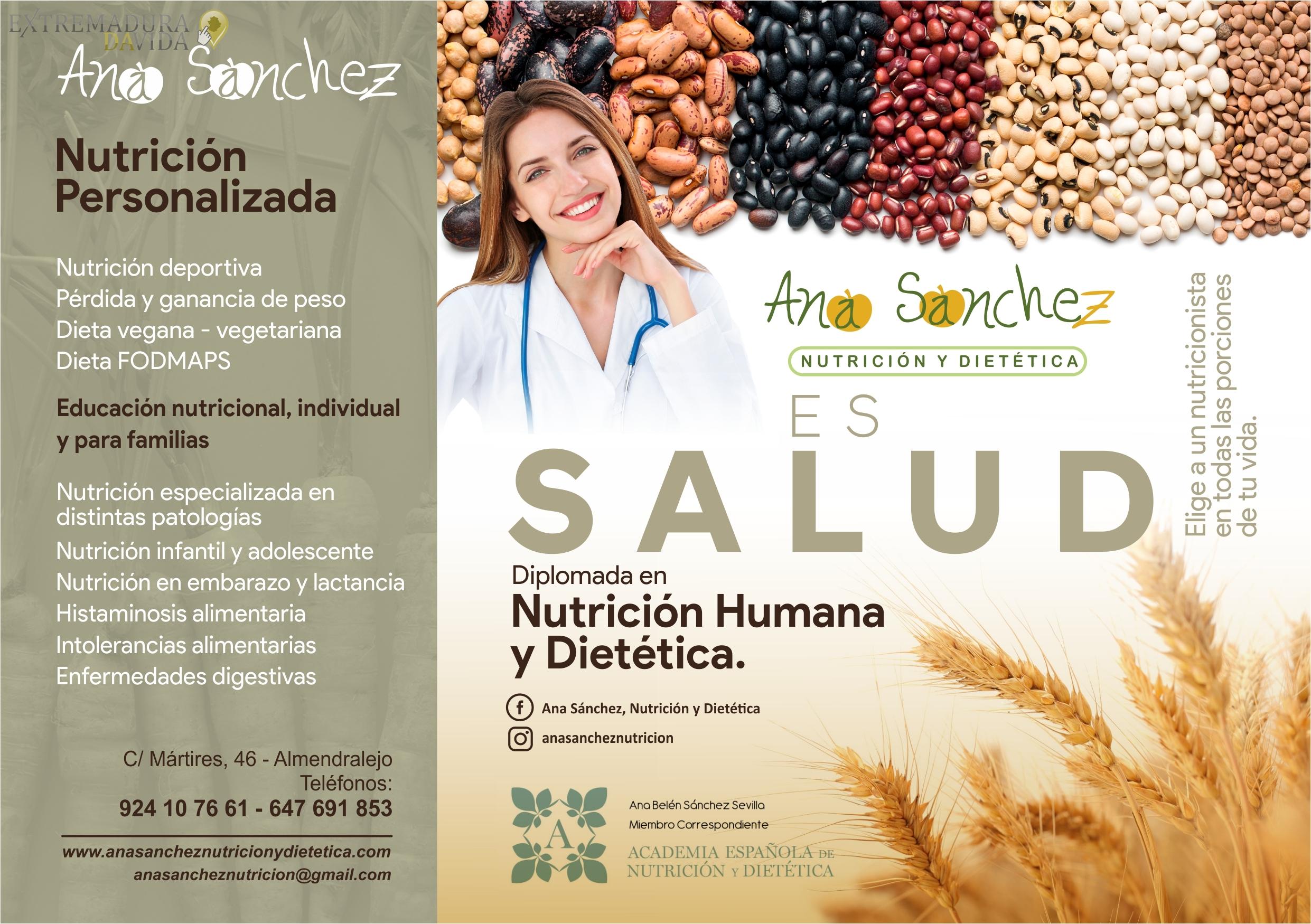 Nutrición personalizada en Almendralejo Ana Sánchez