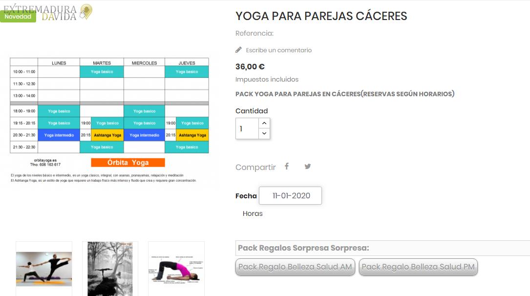 Yoga para parejas Cáceres Orbita